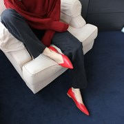 Wave point flat shoes Red_1cm (소가죽)
