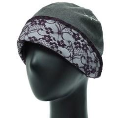 [더그레이S]EKS12.린넨 잎자수 여성 비니 엄마 모자