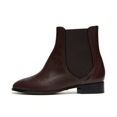 Line ankle boots Red brown_3cm (고트가죽)