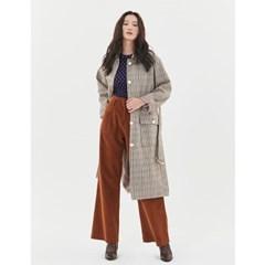 Check Single Button Coat in Beige