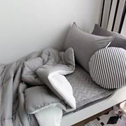 [바이아미]피톤치드 베이직 순면차렵이불 (화이트연그레이)-싱글