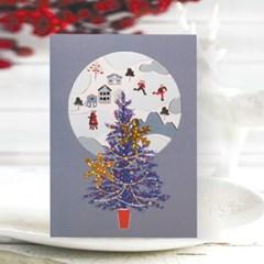 FS1030-4 크리스마스카드,트리,산타,성탄절,미니카드,루돌프