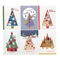 FS1030 Set(6종 세트상품) 크리스마스카드,트리,산타,성탄절
