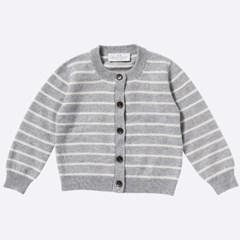 Ilch Cashmere Cardigan Kids_Melange Grey Stripe