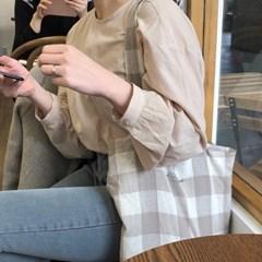slowstitch linen pocket bag ( brown )