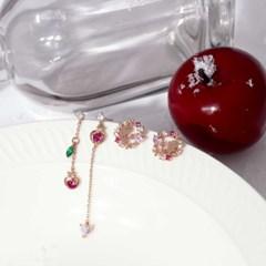 [디즈니X클루] 사과를 든 백설공주 드롭 실버 귀걸이 (CLER18B02PPX)
