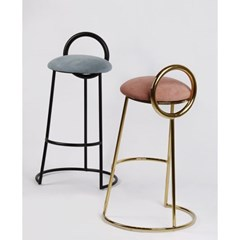 Hoop Bar Stool _ Sky (Matt black frame)