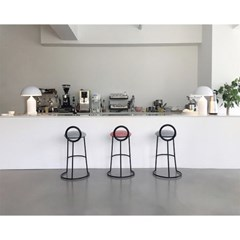 Hoop Bar Stool _ Pink (Matt black frame)