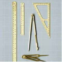 Ruler, Triangle, Brass