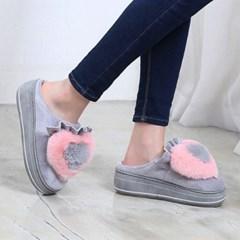 kami et muse Heart fur tall up slippers_KM18w146