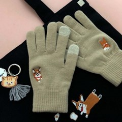 happy corgi gloves