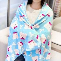 리본곰 패턴 담요 - L