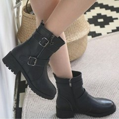 kami et muse Double belted middle heel boots_KM18w165