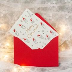 디원 크리스마스 산타 레터프레스 카드(YX34)