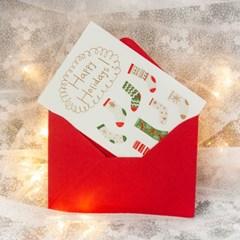 디원 크리스마스 양말 레터프레스 카드(YX32)