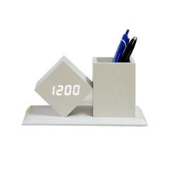 펜홀더 LED원목형 탁상시계/건전지 USB케이블겸용