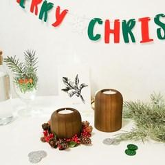 크리스마스 더블 캔들 홀더 2P 세트(선물포장)