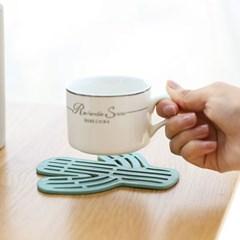 선인장 컵 냄비받침 2개