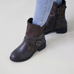 kami et muse Double belted leather middle boots _KM18w188