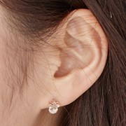 14K 귀걸이 플라워큐(핑크골드)