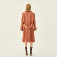 Wide Wool Double Coat in Pink