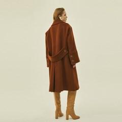 Wide Wool Double Coat in Brown