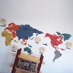 실크로드 칼라 세계지도 벽시계 (특대)