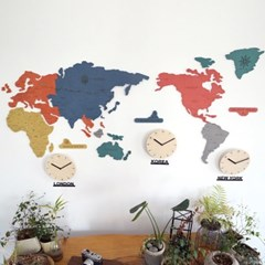 실크로드 칼라 세계지도 벽시계 (중)
