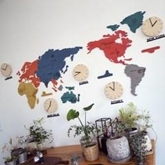 실크로드 칼라 세계지도 벽시계 (대)