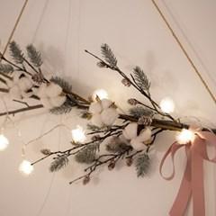 120cm 리얼 윈터가지 목화 가랜드 솔나무 가지 월데코 갈란드