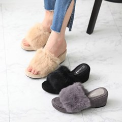 kami et muse Rabbit fur wedge slippers _KM18w199
