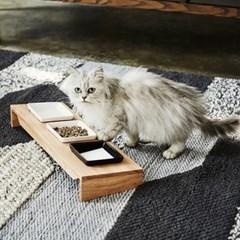 해빗 원목 펫 식기 식탁 3구세트 강아지 고양이 밥그릇