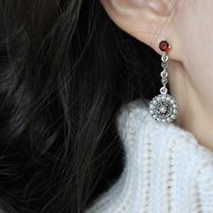 가넷&진주 아그네스 드롭 귀걸이(1월,6월탄생석)