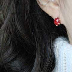 루비 볼륨 물방울 귀걸이(7월탄생석)