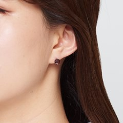 심플브라운 큐빅 귀걸이