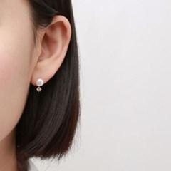 심플 펄 큐빅 귀걸이