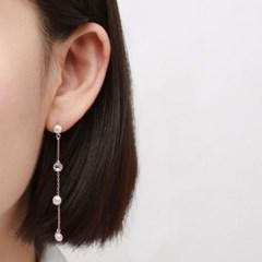 진주 큐빅 드롭 귀걸이