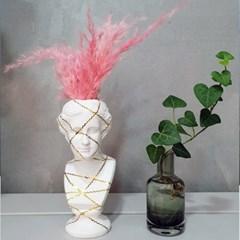 금테 라인 소형 미니 석고상화분 20cm내외+리본2개