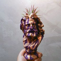 마블링 아트 소형 미니 석고상화분 20cm내외+리본2개