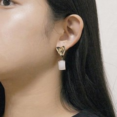 heart white square earring
