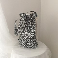 leopard cotton bucket bag_white
