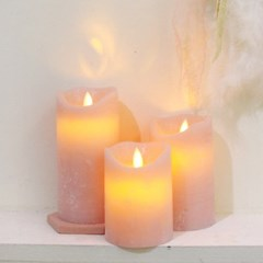 LED 핑크 리얼 양초 캔들