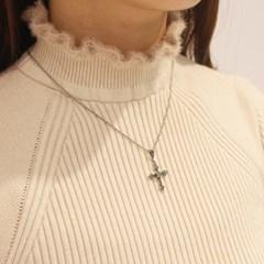 십자가 그린 목걸이_시베리아쿼츠원석