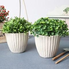 화분조화 화이트 잎
