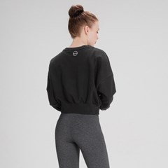 여성운동복 스웨트 크롭 맨투맨 DFW5016 블랙