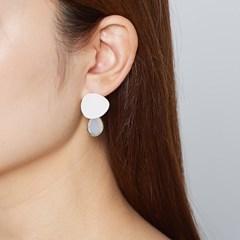 둥근삼각 투명스톤 귀걸이