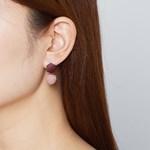 육각 패브릭볼 귀걸이