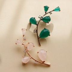 바이데이지 Bh0203 비취 장미석 원석 나뭇잎브로치_(774054)
