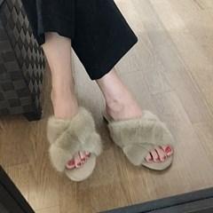 kami et muse Mink fur cross strap slippers_KM18w290