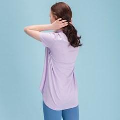 에이라인 반목폴라 반팔 티셔츠 DFW5017 연보라